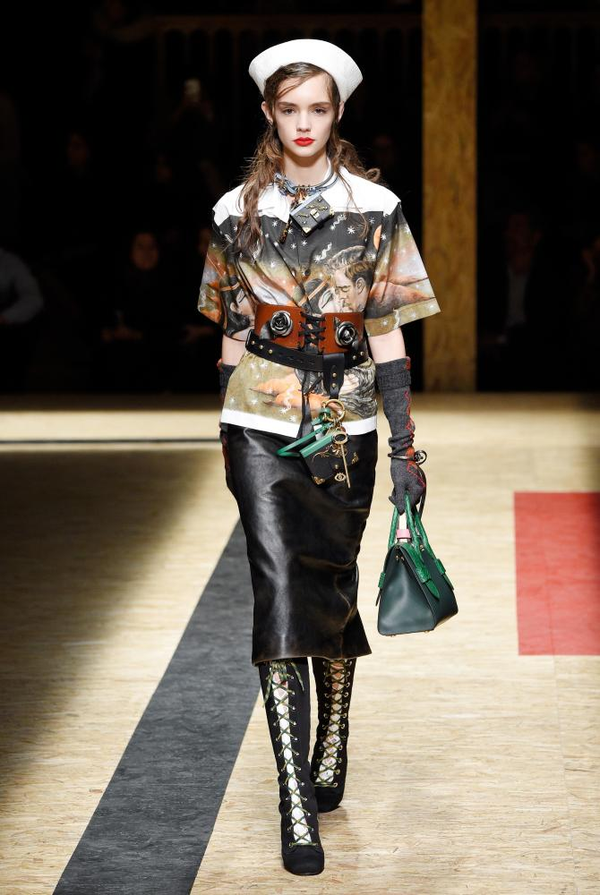 The corset on the Prada catwalk for autumn/winter 2016.