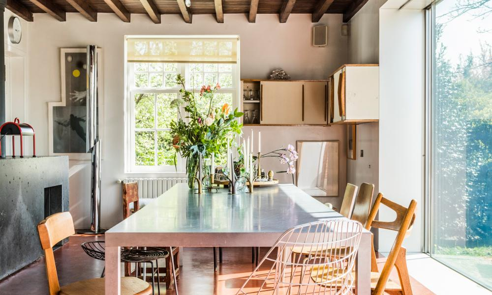 Tin top: a custom-made aluminium table dominates the kitchen.