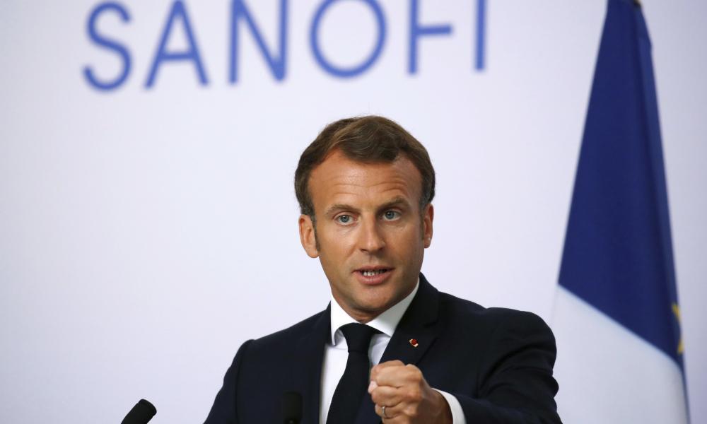 French president Emmanuel Macron delivers a speech at Sanofi Pasteur's vaccine unit in Marcy-l'Etoile, near Lyon.