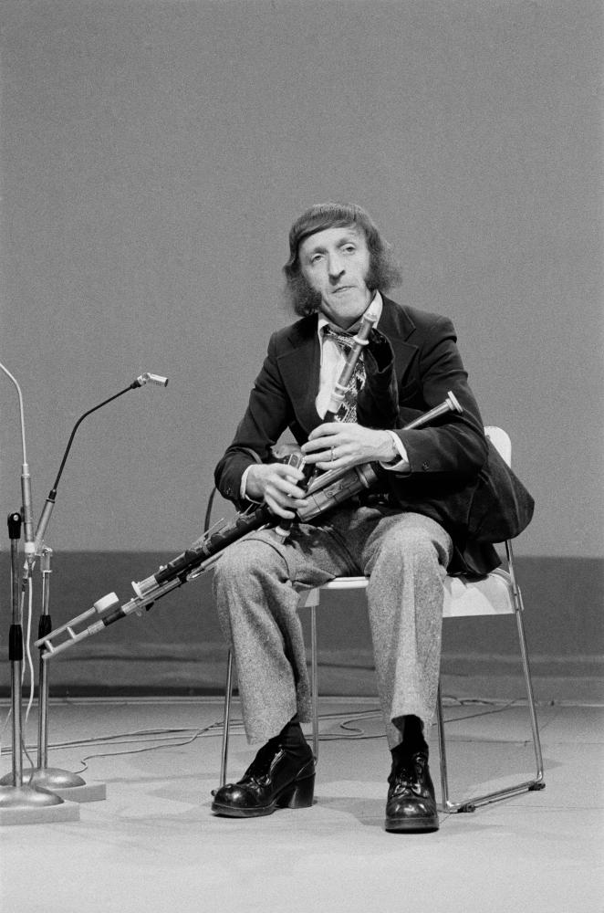 Paddy Moloney with his the uilleann pipes on televison in the mid-1970s.