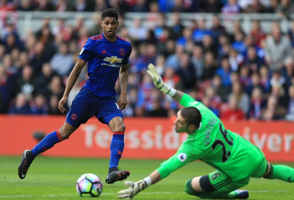Manchester United's Marcus Rashford has a shot at goal