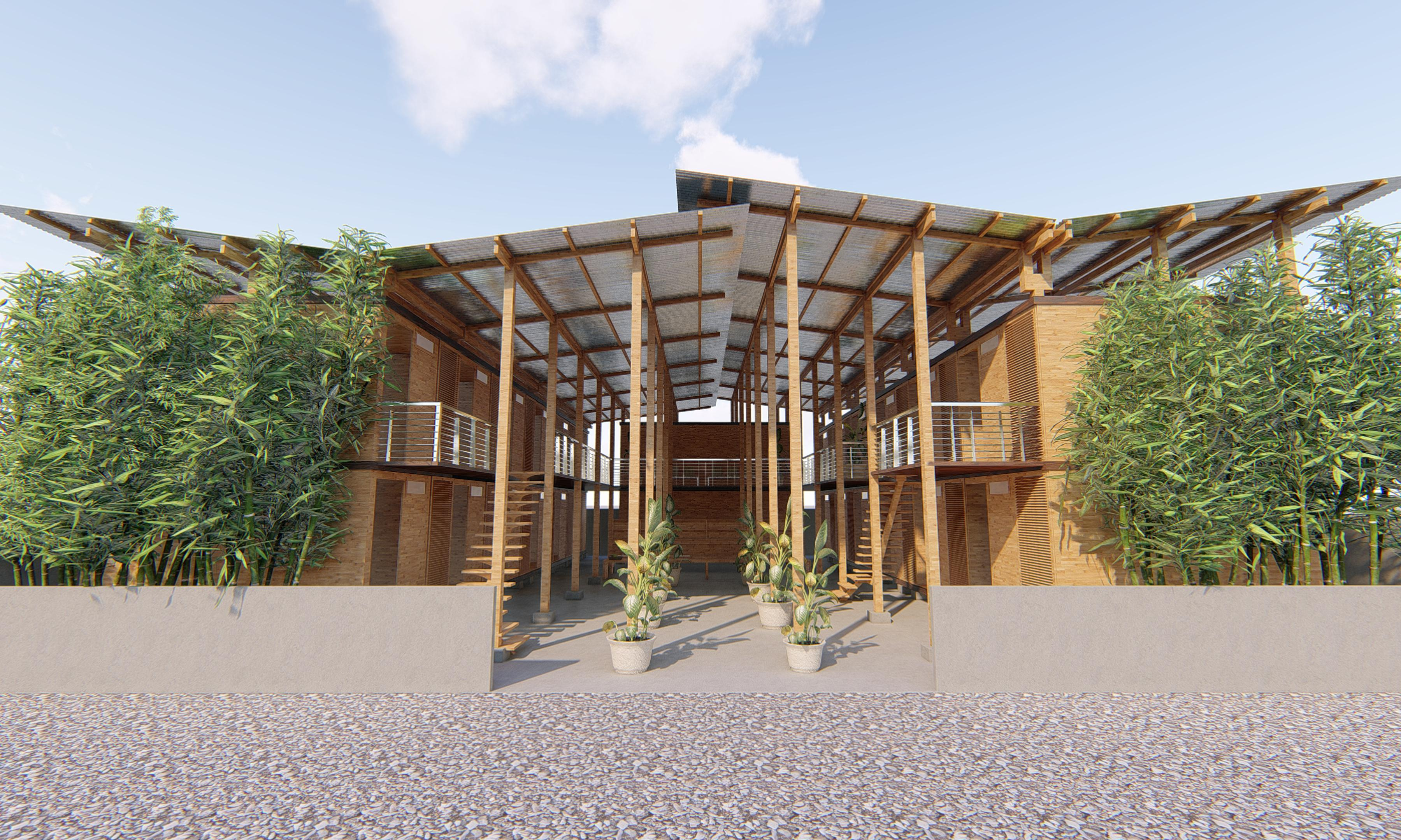 Bamboo house: easy to build, sustainable Cubo wins top prize