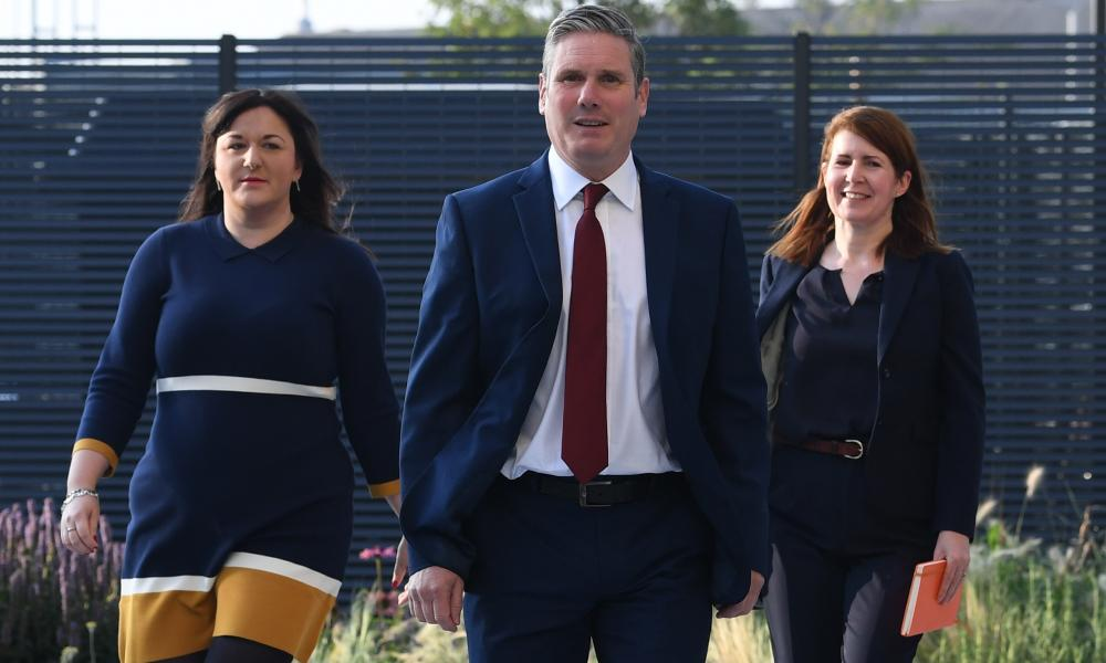 Sir Keir Starmer arriving at the Danum Gallery, Library and Museum in Doncaster to deliver his speech earlier, with former Labour MPs Ruth Smeeth (left) and Jenny Chapman, his political director.