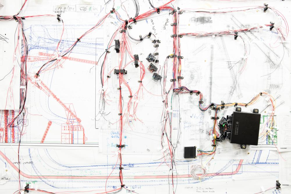 Wiring and diagrams for Rasa hydropgen-powered car, at Riversimple HQ in Llandrindod Wells, Wales.