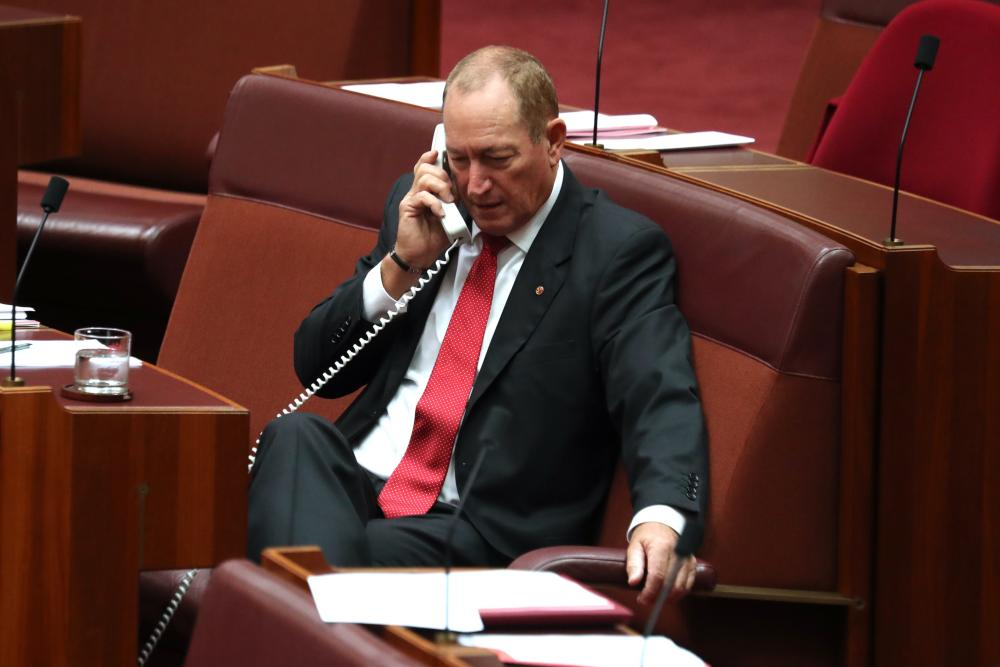 Senator Fraser Anning as the Senate sits for what may be the last day of the 45th parliament in Canberra this morning