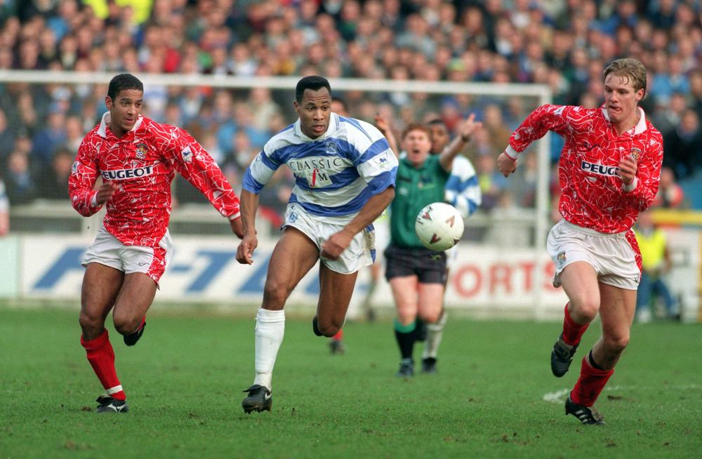 Les Ferdinand in action against Coventry City in 1993.