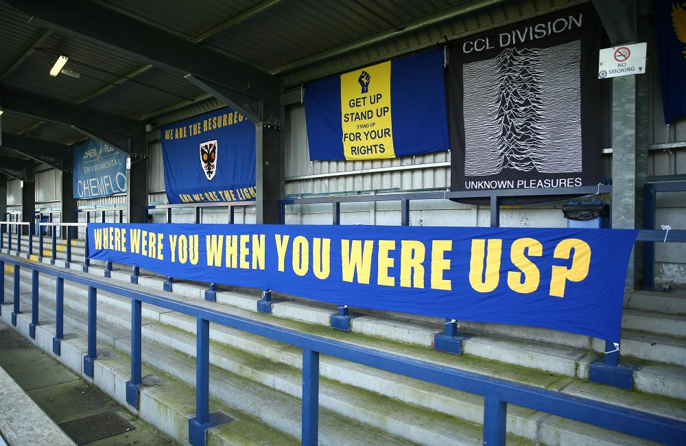 Wimbledon banners ahead of tonights game.