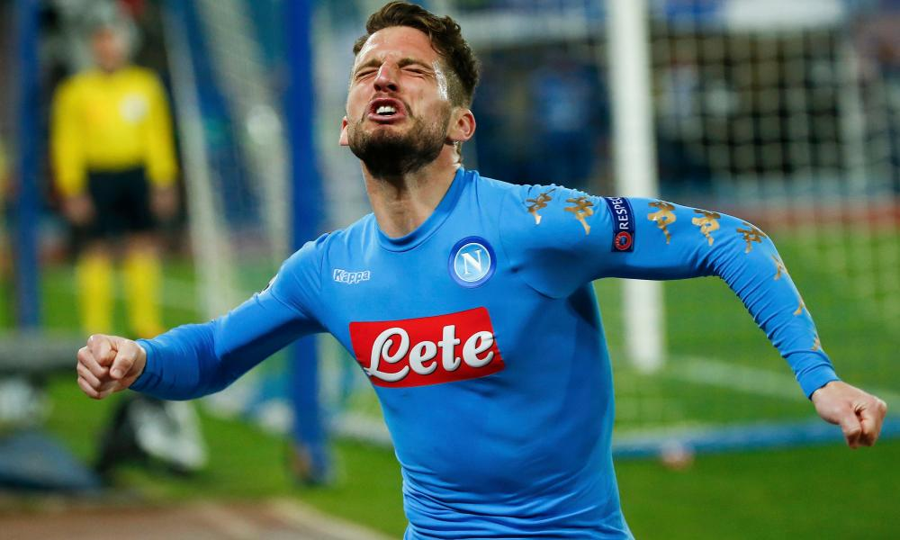 Napoli's Dries Mertens reacts after scoring against Real Madrid.