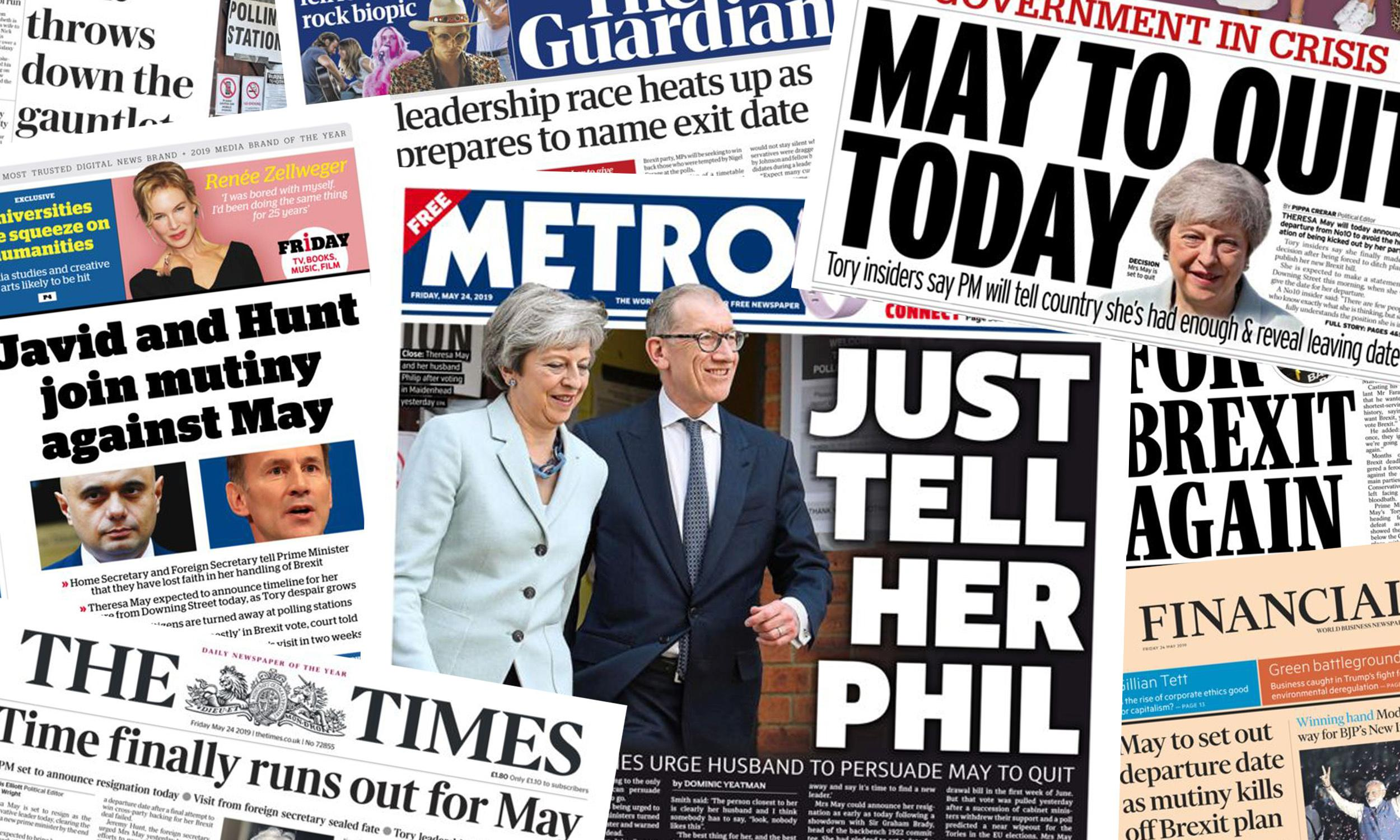 'Time finally runs out': what the papers say about Theresa May's expected departure