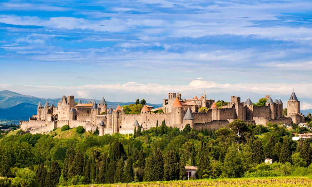 The fortified city of Carcassonne, Languedoc-Roussillon, France