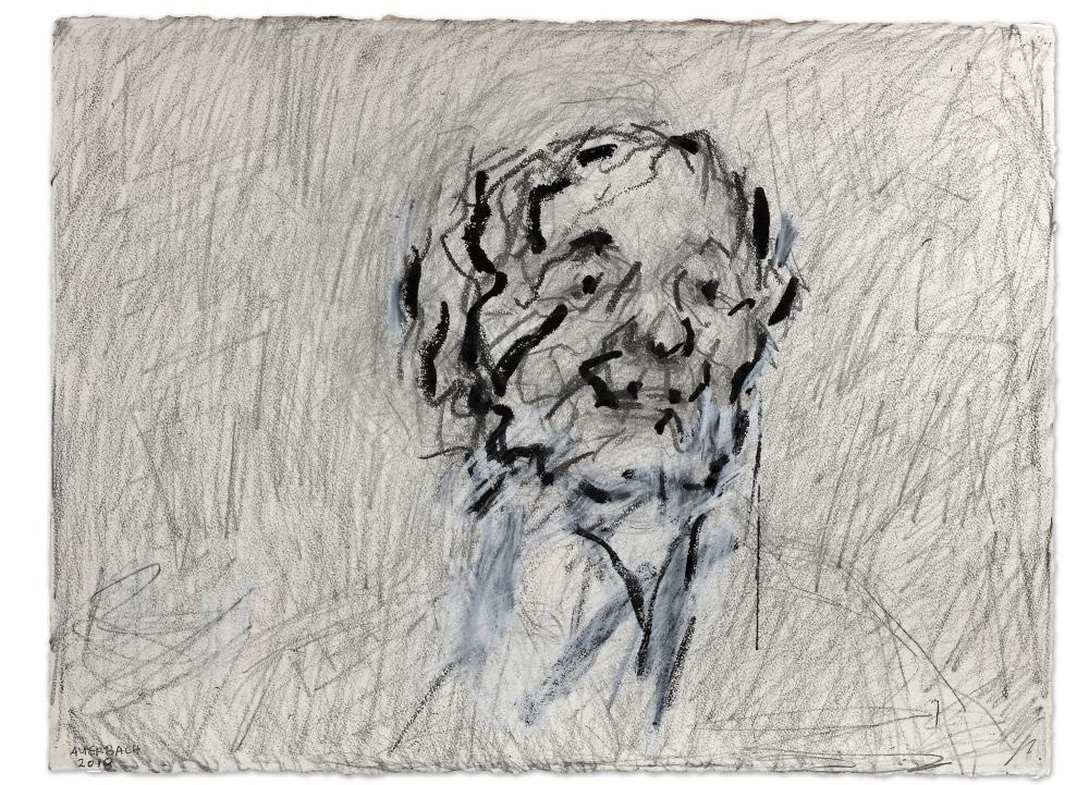 Frank Auerbach, Self Portrait IV, 2018, Graphite White chalk and Indian Ink, 22 3-4 x 30 1-4 in, 58 x 76.9 cm, Copyright Frank Auerbach, Courtesy Marlborough Fine Art