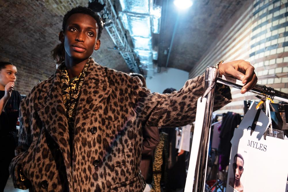 91d9f67f7d59ea A model backstage ahead of the John Lawrence Sullivan show during London fashion  week at Kachette