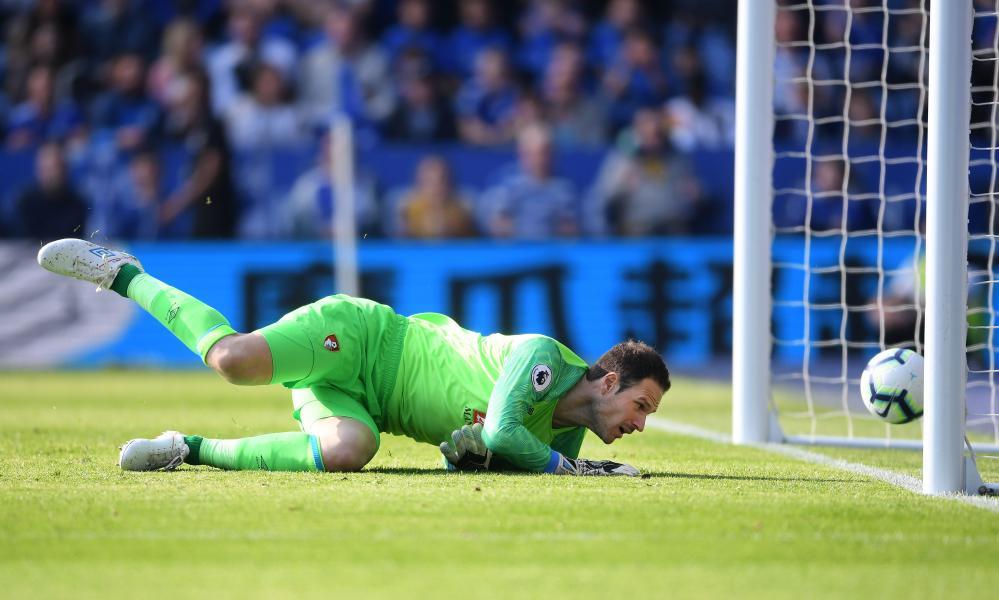 Asmir Begovic concedes a goal.