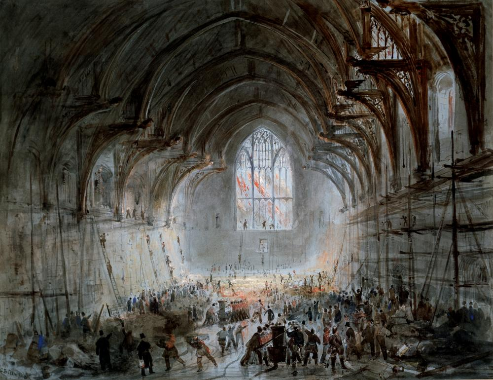 George B Campion's 1834 watercolour of Westminster Hall on Fire.