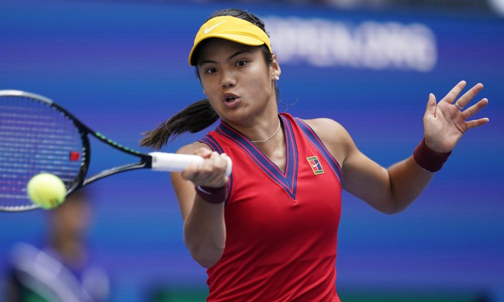 Emma Raducanu hits a return on her way to a comprehensive victory against Shelby Rogers in the US Open fourth round.