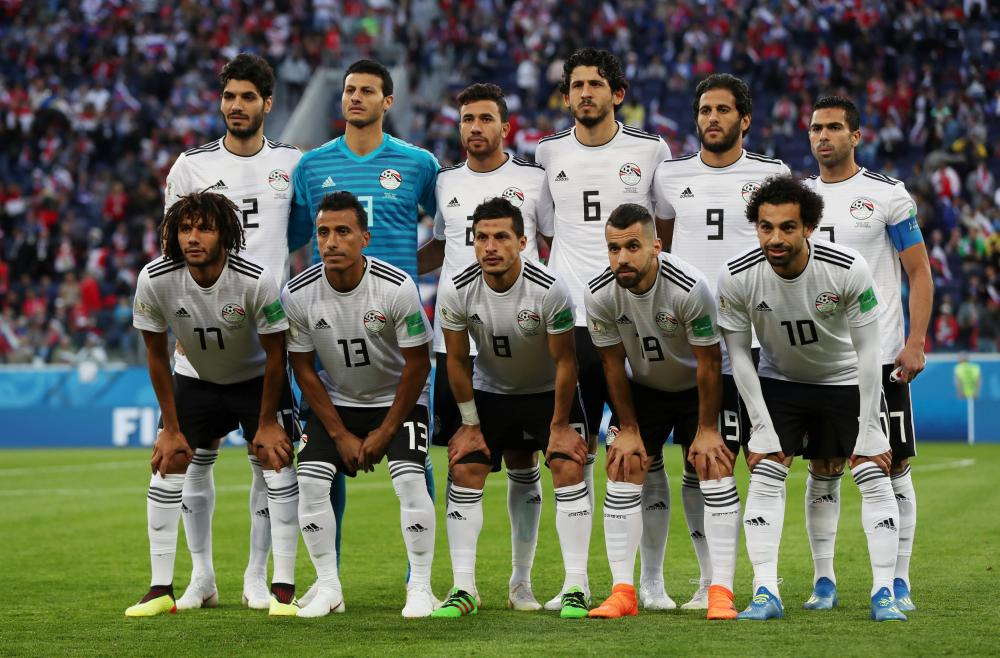 Mo Salah, far right, in the Egypt line-up.