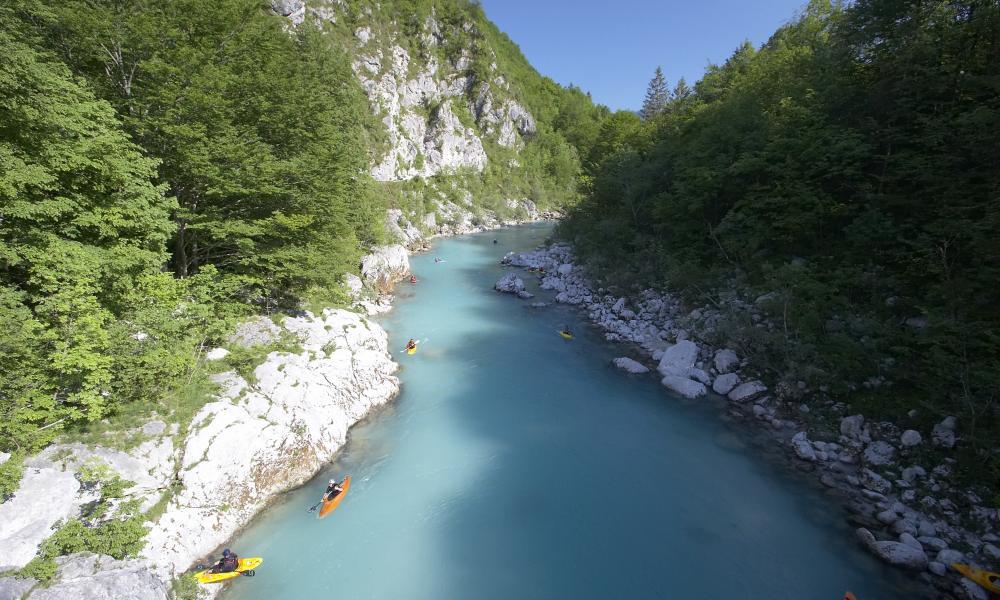 Kayaking on river Soca