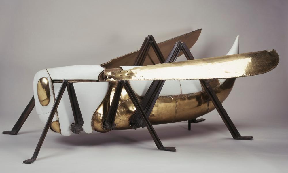The giant brass and porcelain grasshopper given to the Duke of Edinburgh in 1972.