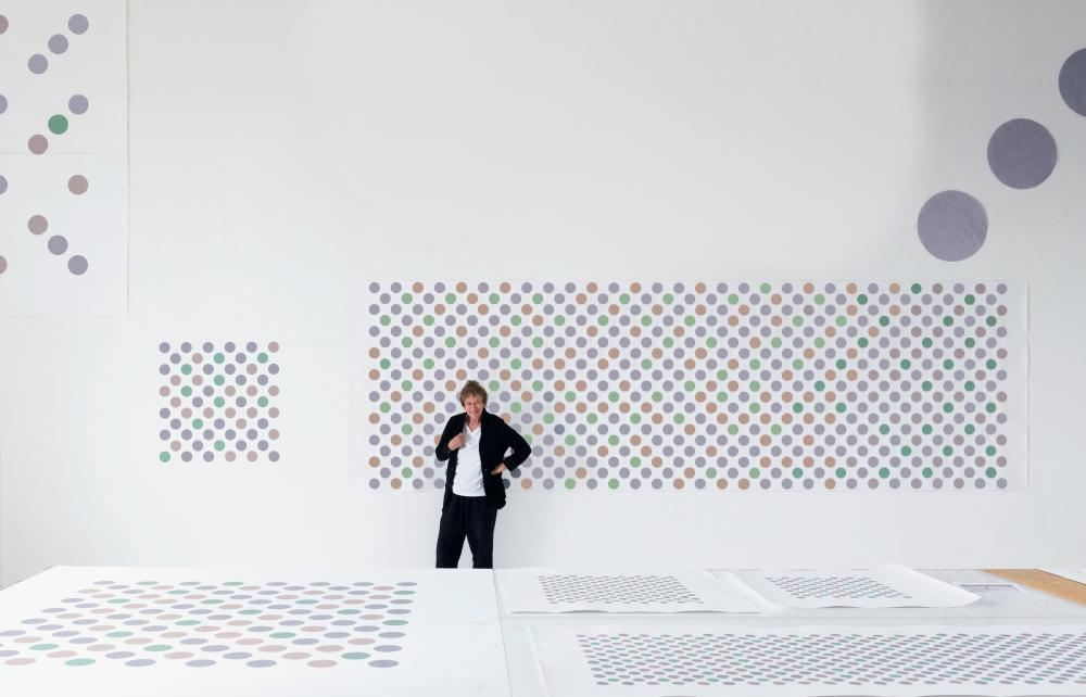 'Her intelligence is a marvel to behold' ... Bridget Riley in her London studio, 2017.