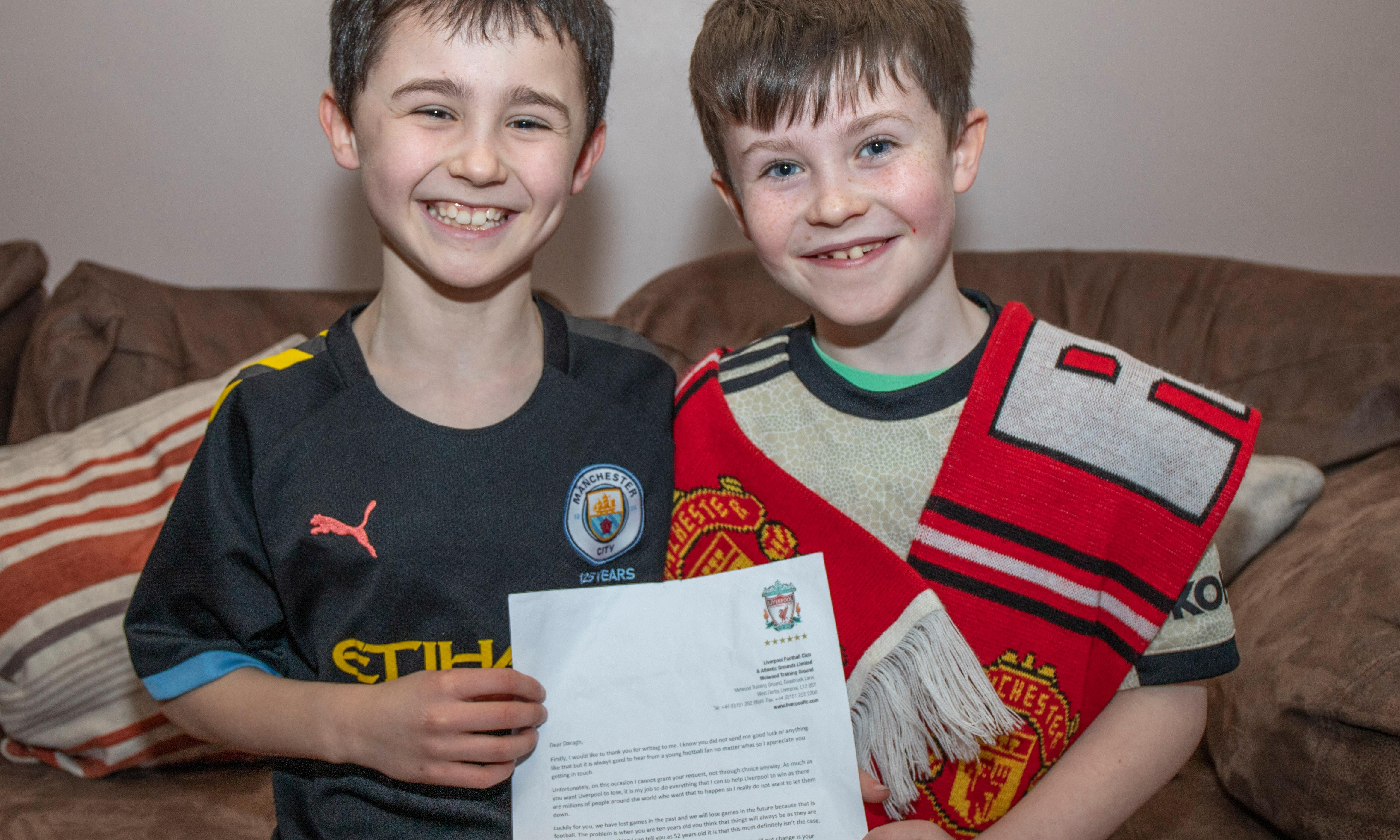 Young Manchester United fan writes to Liverpool's Jürgen Klopp and gets reply