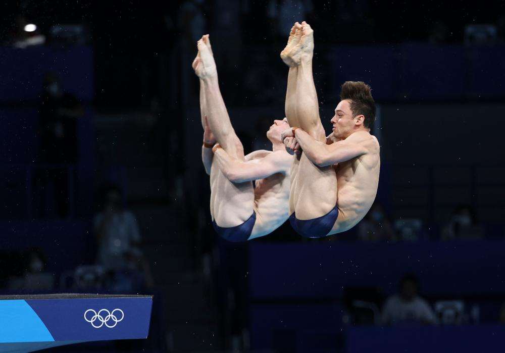 Tom Daley and Matty Lee during the men's synchronised 10-metre final