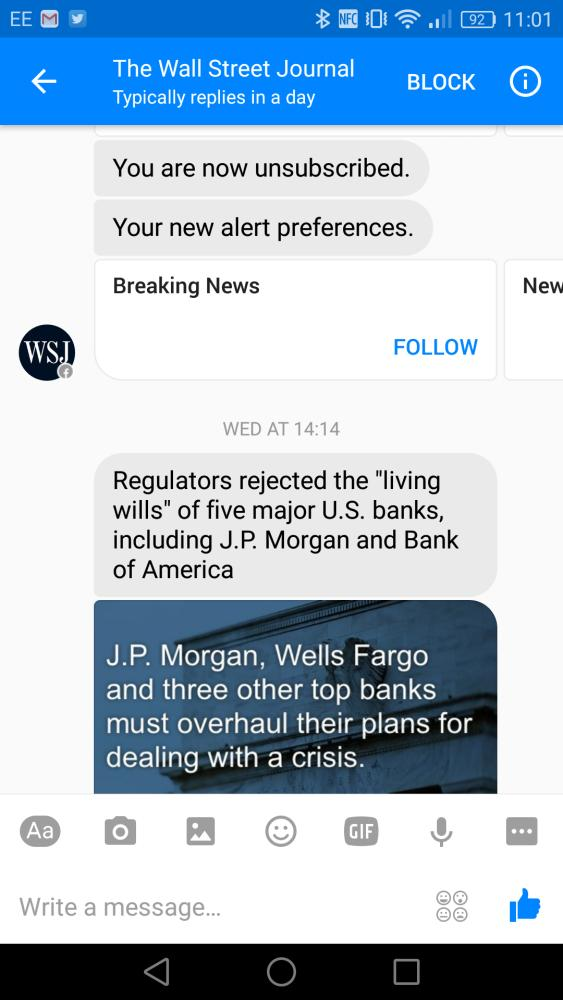 wsj chatbot on Facebook messenger
