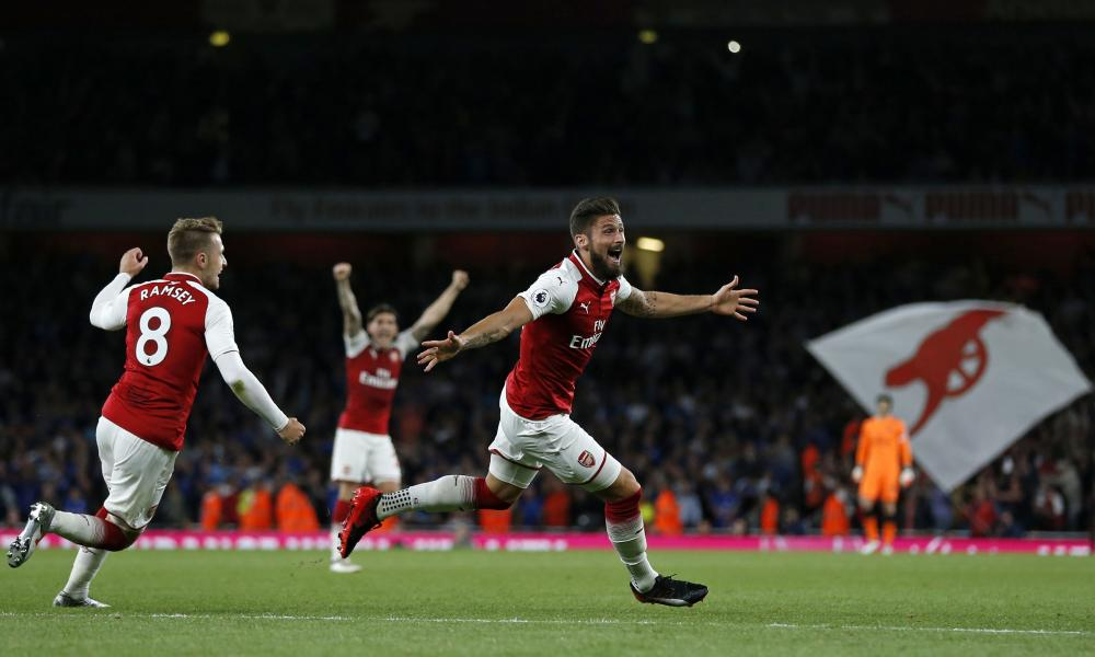 Olivier Giroud celebrates scoring Arsenal's fourth.