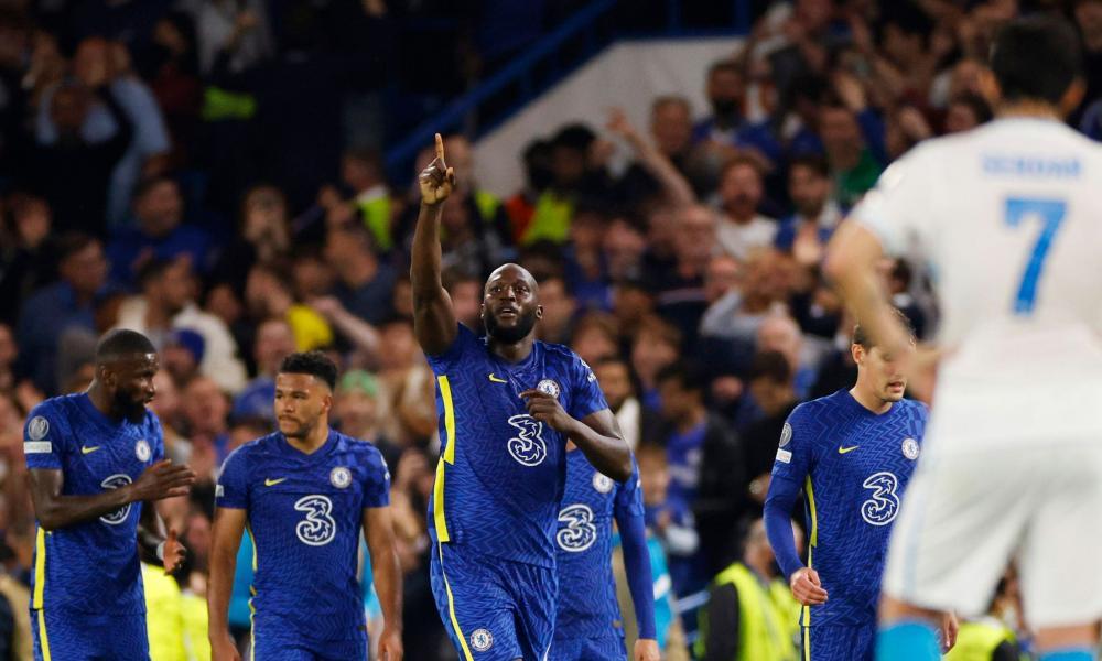 Chelsea's Romelu Lukaku celebrates scoring their first goal.
