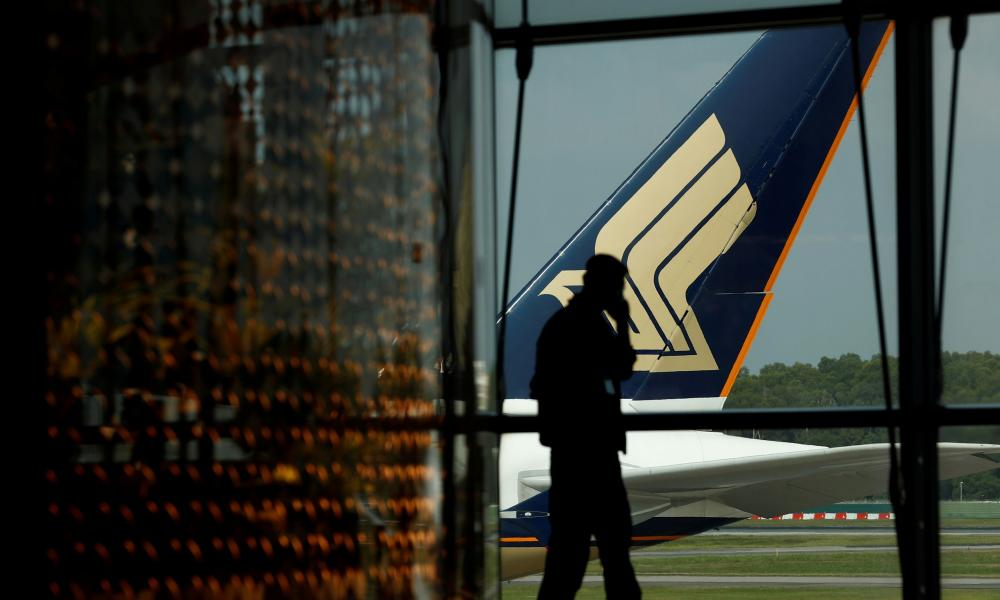 A Singapore Airlines plane sits on the tarmac at Singapore's Changi Airport.