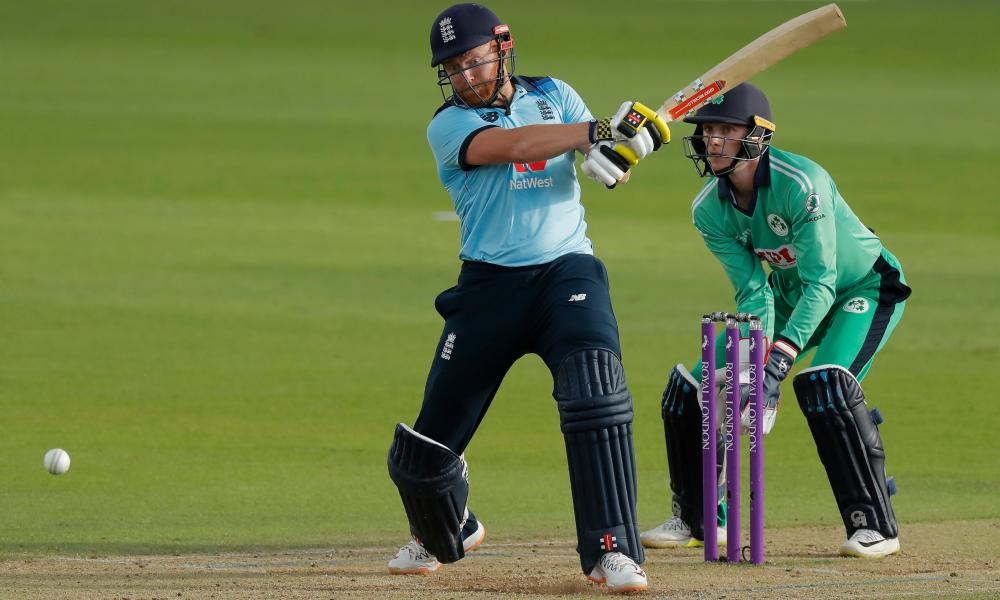 England's Jonny Bairstow smashes another boundary.